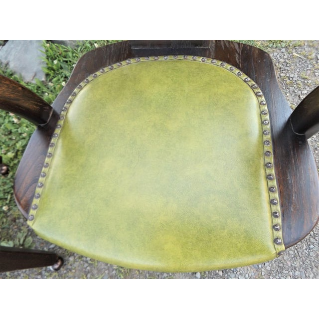 Wood and Avocado Vinyl Mid-Century Arm Chairs - Set of 3 For Sale - Image 10 of 13
