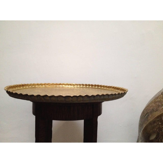 Large Hand-Crafted Decorative Persian Hammered Brass Tray For Sale - Image 9 of 10