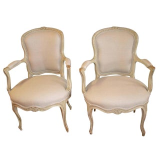 Louis XV Style Painted Armchairs - A Pair For Sale