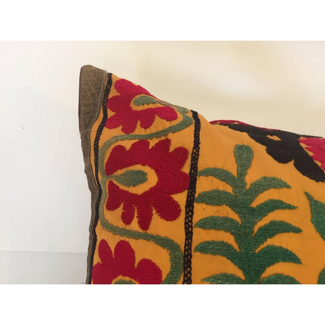 Large Vintage Colorful Suzani Embroidery Throw Pillow For Sale - Image 4 of 13