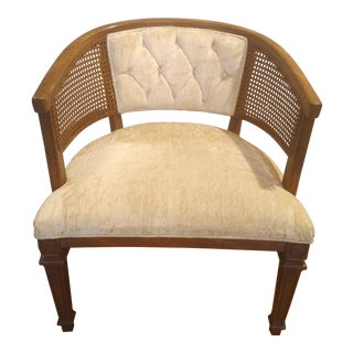 1950s Mid-Century Modern White Caned Barrel Chair For Sale