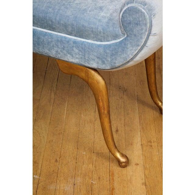 Wood Italian Giltwood Bench in Blue Velvet For Sale - Image 7 of 13