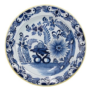 Antique 19th C. Dutch Delft Floral Charger For Sale