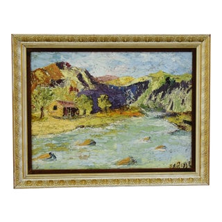 1940s River and Mountain Landscape Oil Painting