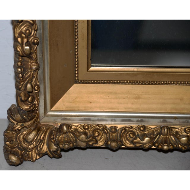 Late 19th Century Elaborate 19th Century Carved & Gilded Frame with Mirror C.1890s For Sale - Image 5 of 8