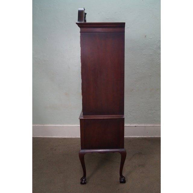 Chippendale 1940s Vintage Kindel Mahogany Chippendale Style Ball & Claw Foot Highboy For Sale - Image 3 of 10