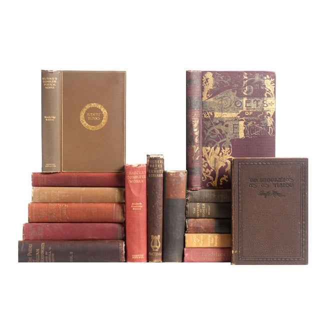 Distressed Poetry In Shades of Rust Books - Set of 16 - Image 1 of 2