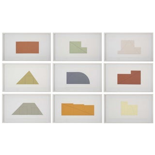 Complete Portfolio of Multiple Panel Paint Prints 1973-1976, Edition B by Robert Mangold - Set of 9 For Sale