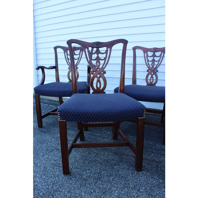 Chippendale Vintage Mid Century Blue Dining Chairs- Set of 6 For Sale - Image 3 of 11