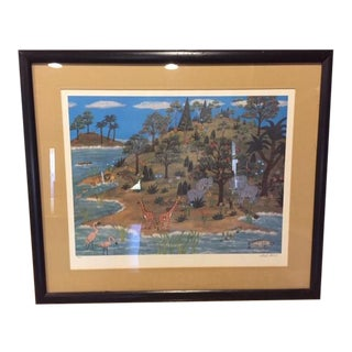 """1960s Vintage Mike Falco """"Lazy Afternoon"""" Folk Art Signed Artist Proof Serigraph on Canvas For Sale"""