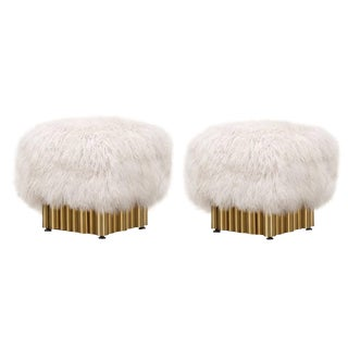 Mongolian Fur Ottomans - a Pair