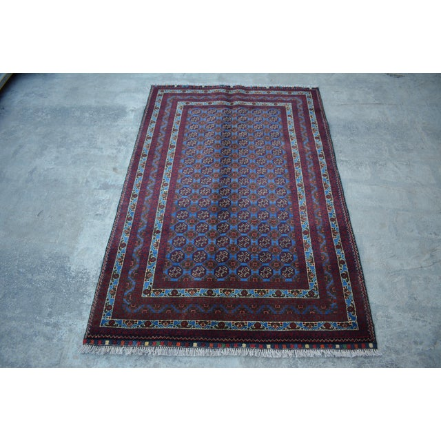 Traditional Bokhara Hand-Knotted Raspberry Red and Sky Blue Wool Rug For Sale In Orlando - Image 6 of 6