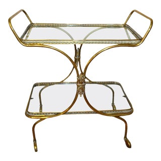 European Neoclassic Style, Decorative Brass Bar Cart With Two Glass Trays For Sale