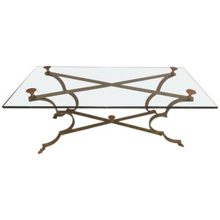 Neoclassical Style Gilt Brass and Iron Low Coffee Table For Sale