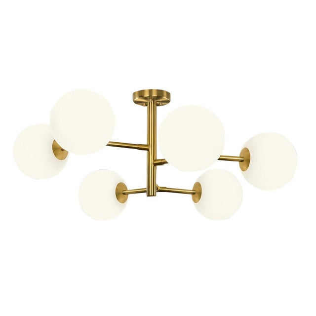 Art Deco 6 Arm Constellation Brushed Brass Pendant Light For Sale - Image 3 of 3
