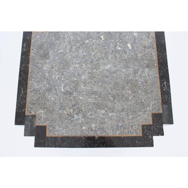Metal Maitland-Smith Tessellated Stone and Brass Side or End Table For Sale - Image 7 of 9