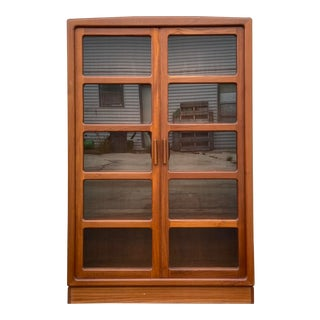 H.P. Hansen's Danish Glass + Teak Lighted Bookcase For Sale