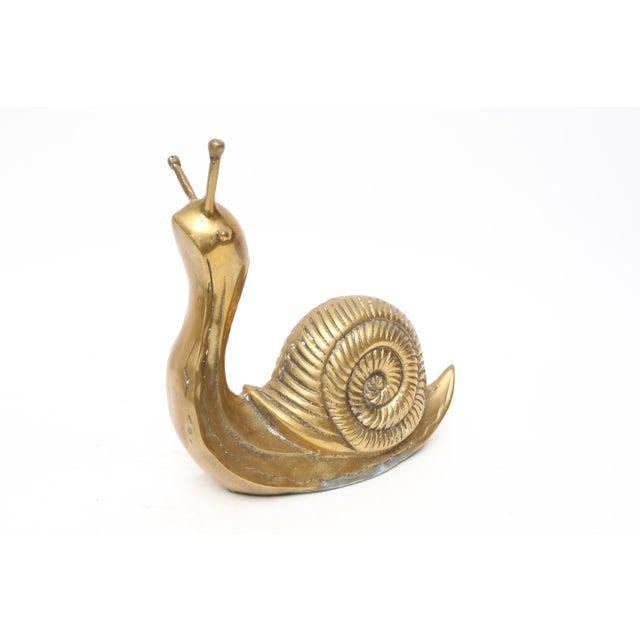 Vintage Oversize Large Brass Snail For Sale - Image 4 of 5