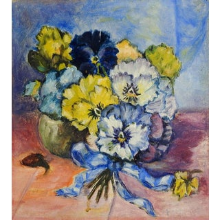 Vintage Pansy Still Life Painting For Sale