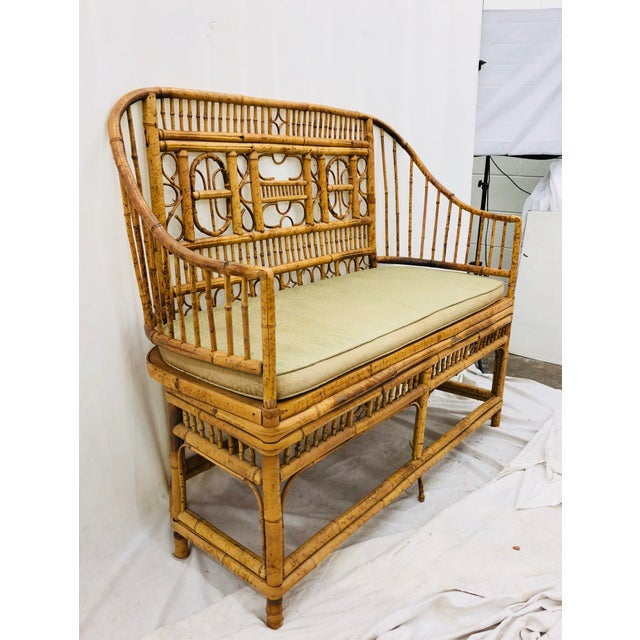 Bamboo Vintage Scorched Bamboo & Cane Settee For Sale - Image 7 of 13