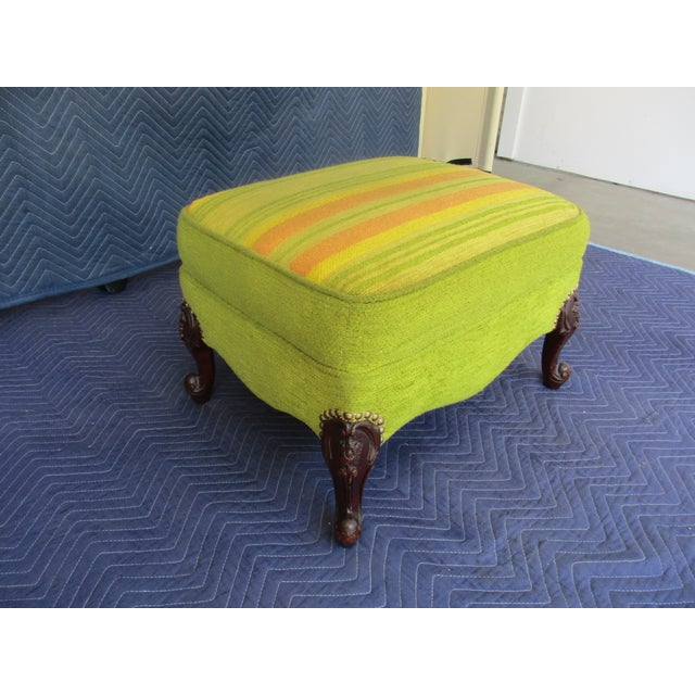Mid 20th Century French Style Footstool With Mid-Century Modern Fabric For Sale - Image 5 of 11