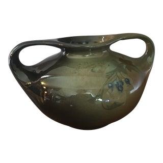 Sara McLaughlin Lonhuda Faience Double Handled Pottery Vase, Signed For Sale
