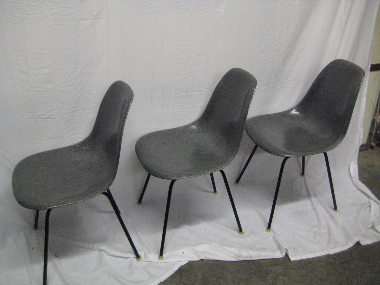 Midcentury Set Of Three Very Early Rare Charles Eames Chairs Dated November  14,1957.