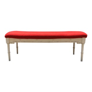Omega White Faux Bamboo Bench For Sale