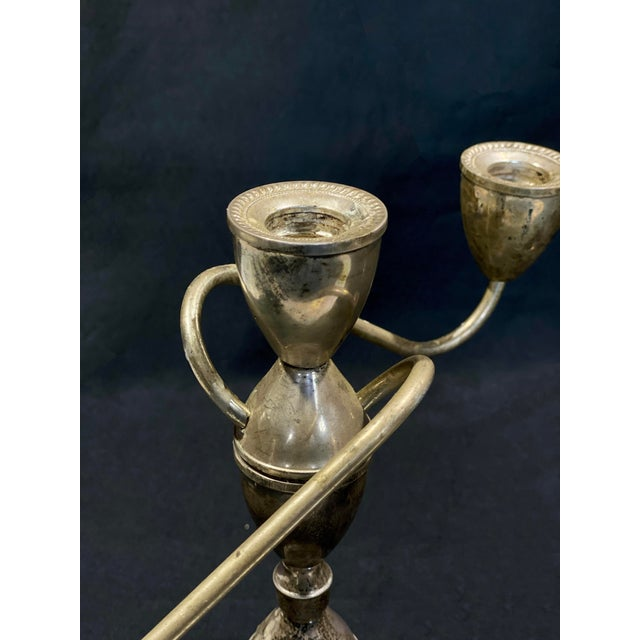 Silver Vintage Art Deco Sterling Silver Candlestick Holder Candelabra's - a Pair For Sale - Image 8 of 12