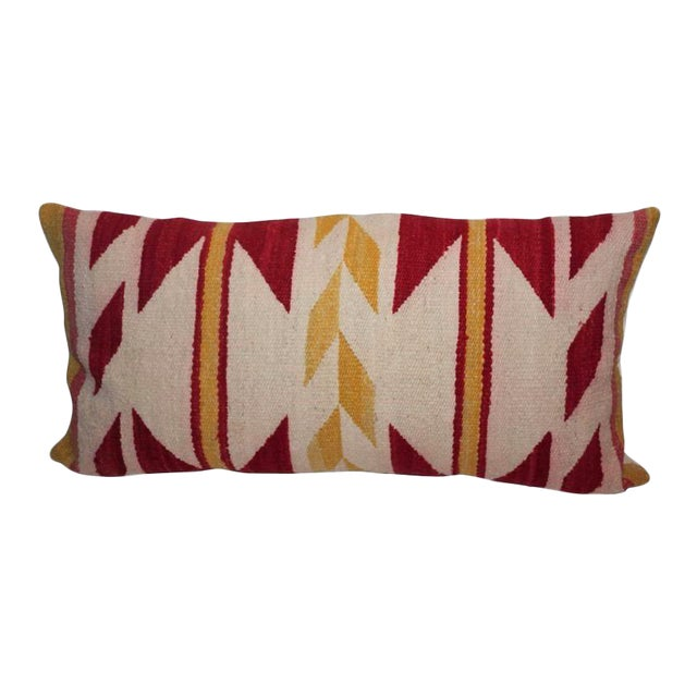 Navajo Indian Weaving Yellow and Red Bolster For Sale