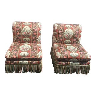 Regency Style Upholstered Slipper Chairs - a Pair