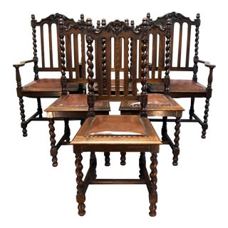 Victorian Gothic Tiger Oak Barley Twist Dining Chairs - Set of 6
