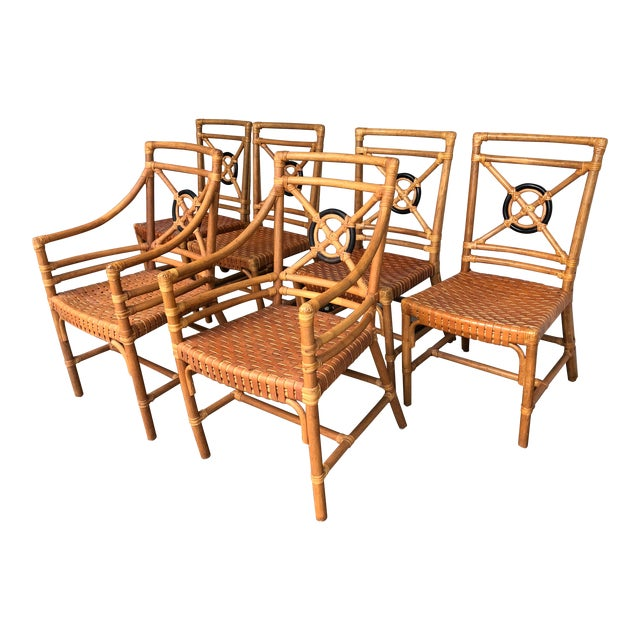 McGuire Rattan Rawhide Target Chairs- Set of 6 For Sale