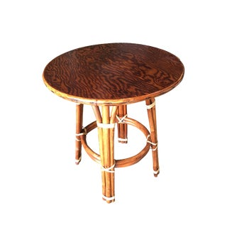 """Double Circle"" Restored Rattan Side Table With Mahogany Top For Sale"