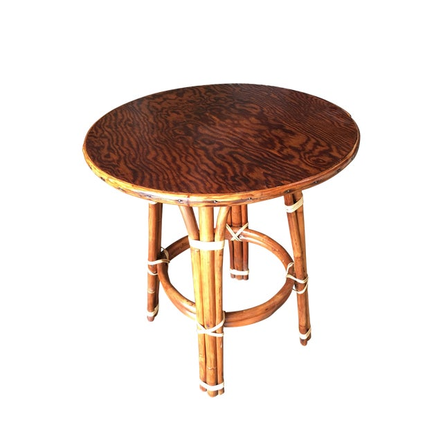 """""""Double Circle"""" Restored Rattan Side Table With Mahogany Top For Sale"""