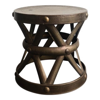 1960's Boho Chic Brass Drum Table For Sale