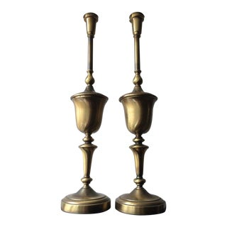 1950s Vintage Stiffel Brass Torchiere Table Lamps - A Pair For Sale