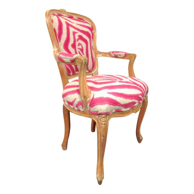 Pink Zebra Print Louis Chair For Sale