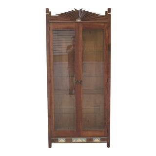 1990s Southwestern Design Pine Curio Display Cabinet For Sale