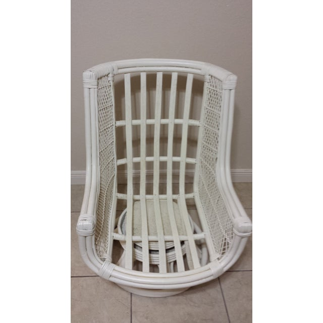 Bamboo Vintage Swivel Egg Rattan Chair For Sale - Image 7 of 9