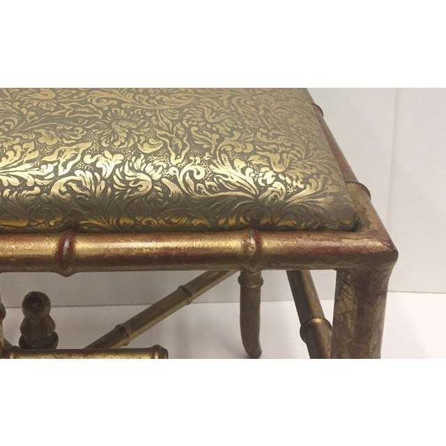 Italian 1960s Vintage Gilt Iron Faux Bamboo Ottoman Bench For Sale - Image 3 of 10