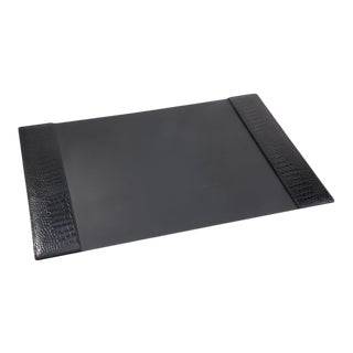 Desk Blotter, Embossed Croc Leather Book in Black For Sale