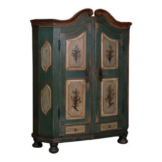 Antique German Armoire With Original Blue / Green Paint For Sale