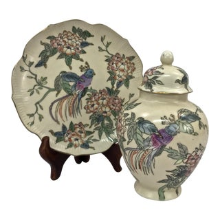 Kutani Satsuma Decorative Ginger Jar & Plate For Sale