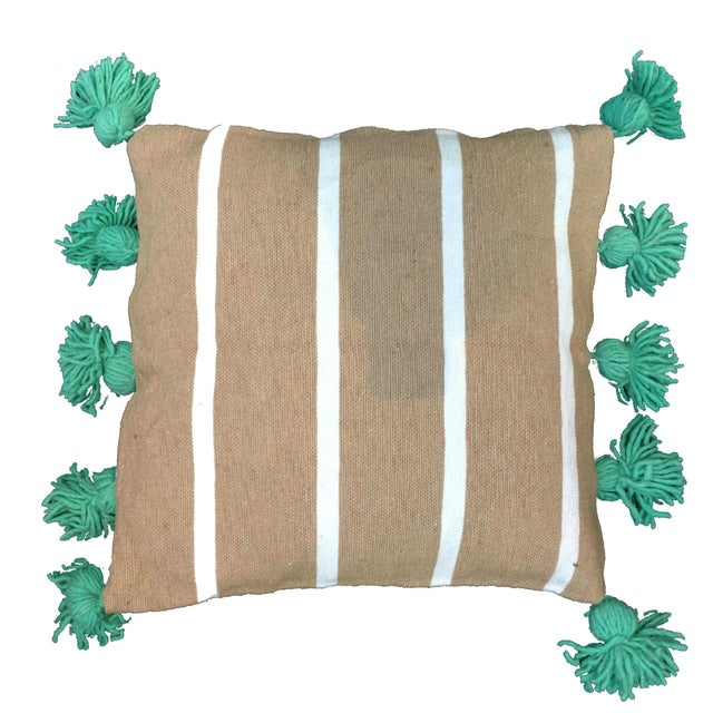 Moroccan Beige & Mint Pompom Pillow Cover For Sale - Image 3 of 3