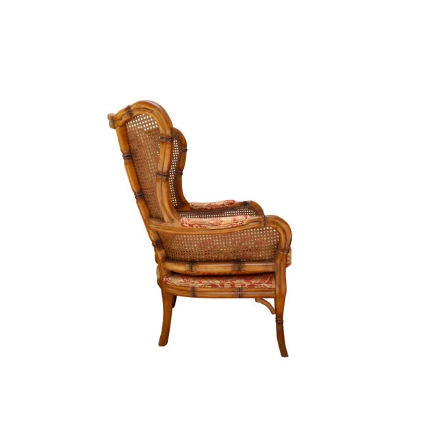 Adirondack Faux Bamboo Caned Wingback Chairs, a Pair For Sale - Image 3 of 8