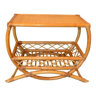 Vintage Bamboo Rattan Side Table With Lattice & Bentwood Design For Sale