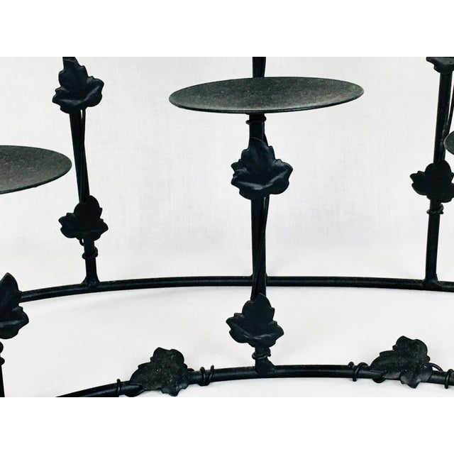 1950s Modern Deco Gothic Wrought Iron Candle Holder For Sale - Image 4 of 6