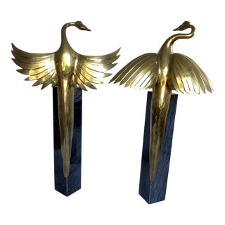 Art Deco Bronze Birds on Marble - A Pair For Sale