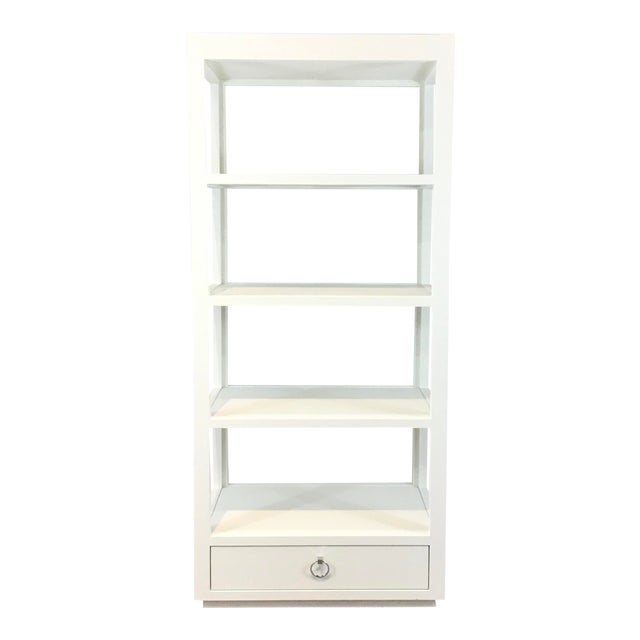 Bungalow 5 Modern White Lacquer Grasscloth Camilla Etagere For Sale